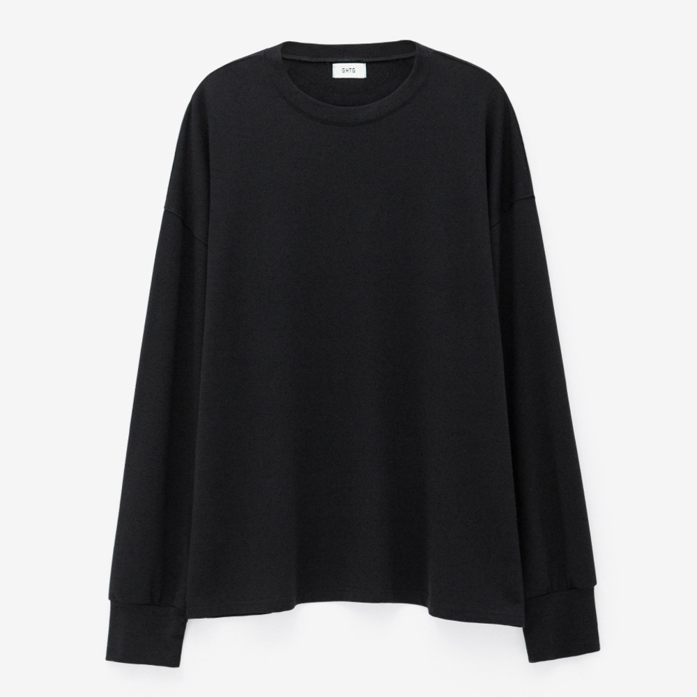 TERRY OVERSIZED LONG SLEEVE BLACK - GHTG
